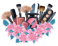 Free Watercolor Make Up Products With Flowers . Hand Drawn Cosmetics Set Of Brushes, Powder, Texture, Palette, Mascara, Lip Royalty Free Stock Photography - 188509177