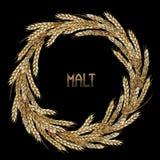 Watercolor malt wreath Royalty Free Stock Photo