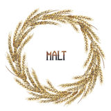 Watercolor malt wreath Stock Images