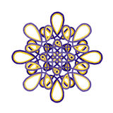 Watercolor mandala in purple and yellow colors. Royalty Free Stock Images