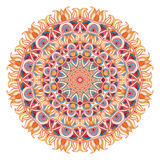 Watercolor mandala with sacred geometry. Ornate lace  on white background. Stock Images