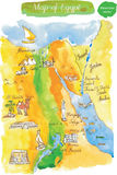 Watercolor map of attractions Egypt Stock Image