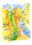 Watercolor map of attractions Egypt Royalty Free Stock Image