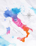 Watercolor map Italy pink blue. Watercolor map of Italy in vector format in pink and blue colors on a background of crumpled paper Royalty Free Stock Photo