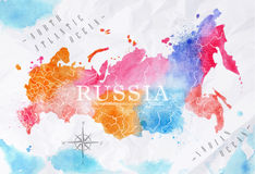 Watercolor map Russia pink blue Royalty Free Stock Image