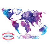 Watercolor map of the world  on white Stock Photography