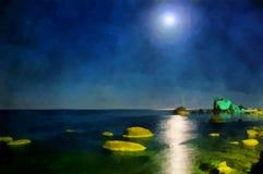 watercolor Mar do Seascape Opini?o da noite do mar do cais da cidade ilustração stock