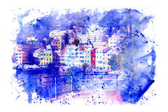 Watercolor of Marina Genova Nervi. Snap developed with overlapping texture blue watercolor on white background Royalty Free Stock Photo