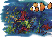 Watercolor Marine life background with Tropical fish.  Royalty Free Stock Photos
