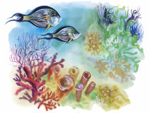 Watercolor Marine life background with Tropical fish.  Royalty Free Stock Photography