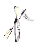 Watercolor mascara. Brush with stroke. Smear of makeup. Beauty and cosmetic illustration. Watercolor mascara. Brush with stroke. Smear of makeup. Beauty and Royalty Free Stock Photo