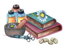 Watercolor medical composition of chamomile in a clay bowl, books, pills, medicine, injection. Vintage hand drawn illustration
