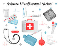 Watercolor Medicine. Vector watercolor icons set of medicine and healthcare objects such as thermometer, pills, stethoscope, syringe, first aid kit, test-tube Royalty Free Stock Images