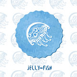 Watercolor Medusa. Jelly fish doodle icon on pattern background. Vector illustration Royalty Free Stock Photos