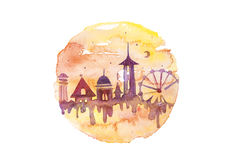 Watercolor melting amusement park in circle composition. Artistic scary sunrise, round illustration isolated on white Royalty Free Stock Image