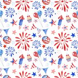 Festive 4th of July american seamless pattern with watercolor red, white and blue balloons, fireworks, stars on white background
