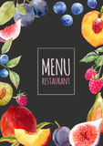 Watercolor menu template. With hand drawn fruits Royalty Free Stock Images