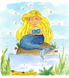 Watercolor mermaid. Cute cartoon painted illustration. Watercolor hand drawn illustration Stock Photo