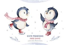 Watercolor merry christmas character penguin illustration. Winter cartoon isolated cute funny animal design card. Snow stock photo