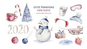 Watercolor merry christmas character penguin illustration. Winter cartoon isolated cute funny animal design card. Snow royalty free stock image