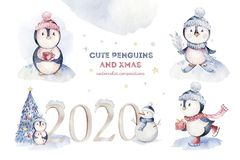 Watercolor merry christmas character penguin illustration. Winter cartoon isolated cute funny animal design card. Snow stock image