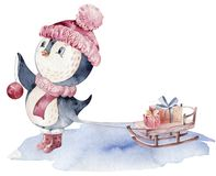 Watercolor merry christmas character penguin illustration. Winter cartoon isolated cute funny animal design card. Snow stock images
