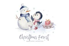 Watercolor merry christmas character penguin and snowman illustration. Winter holidays cartoon isolated cute funny