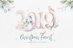 Watercolor Merry Christmas illustration with snowman, holiday cute animals deer, rabbit. Christmas celebration cards royalty free illustration