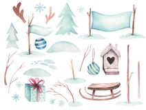 Watercolor Merry Christmas illustration with snowman, holiday cute animals deer, rabbit. Christmas celebration cards vector illustration