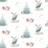 Watercolor Merry Christmas seamless patterns with christmas tree and rat, holiday cute baby mouse animals. Christmas