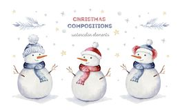 Watercolor merry christmas set of character snowmans illustration. Winter holidays cartoon isolated cute funny snowman royalty free stock image