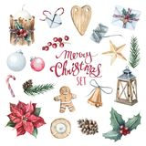 Watercolor Merry Christmas set Royalty Free Stock Image
