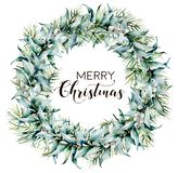 Watercolor Merry Christmas wreath with eucalyptus. Hand painted fir border with eucalyptus leaves and branches, white. Berries isolated on white background stock images
