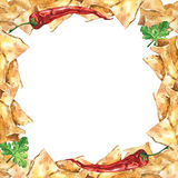 Watercolor  mexican nachos and salsa sauce frame. Mexican food. Stock Photography