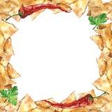 Watercolor  mexican nachos and salsa sauce frame. Mexican food. Watercolor  mexican nacho chips and salsa sauce frame. Mexican national food Stock Photography