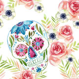 Watercolor mexican sugar skull among the flowers seamless pattern. Royalty Free Stock Image