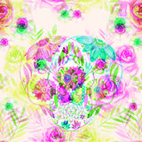 Watercolor mexican sugar skull among the flowers seamless pattern. Stock Images
