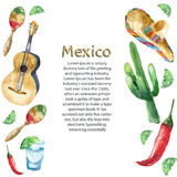 Watercolor Mexico icons. Royalty Free Stock Image