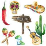 Watercolor mexico icons. Stock Photography
