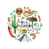 Watercolor mexico icons. Stock Image