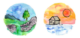 Watercolor miniature landscapes Royalty Free Stock Photography