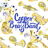 Watercolor misic lettering calligraphic inscription - copper brass band Royalty Free Stock Image