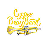 Watercolor misic lettering calligraphic inscription - copper brass band Stock Photos