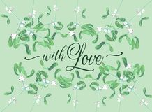 Watercolor mistletoe plant card with love wish Royalty Free Stock Photography