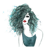 Watercolor model with red lips Stock Photography