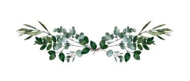 Watercolor modern decorative element. Eucalyptus round Green leaf Wreath, greenery branches, garland, border, frame, elegant royalty free illustration