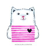 Watercolor modern Kitty in bright wear. Cute animal. Cat. Children cartoon illustration. Can be printed on T-shirts Royalty Free Stock Photos