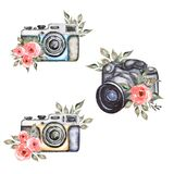 Watercolor modern and vintage camera set, coral peony flower clipart, red roses, greenery illustration, grey leaves, logo clipart