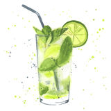 Watercolor mojito. Hand drawn illustration. Mojito cocktail. Watercolor made in vector stock illustration