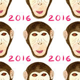 Watercolor monkey pattern. Happy New year seamless background. Year of Monkey print. Watercolor monkey pattern. Happy New year seamless background. Year of Stock Photography